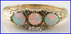 DAINTY 9K 9CT GOLD AAA AUS OPAL DIAMOND VINTAGE ART DECO INS RING Size Q