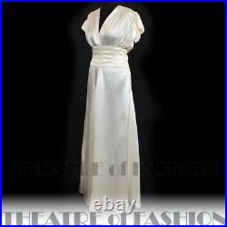 DRESS 30s WEDDING SILK VINTAGE 20s 40s SATIN BALLGOWN GATSBY DECO VAMP GODDESS