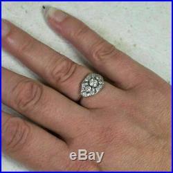 Edwardian Vintage Art Deco Ring Engagement Ring 14k White Gold Over 2 Ct Diamond