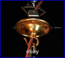 Edwardian brass industrial pendant light mid-century prismatic ribbed holophane