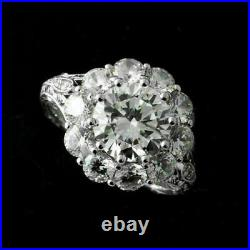 Engagement Ring Vintage Art Deco Filigree Ring 3 Ct Diamond 14K White Gold Over