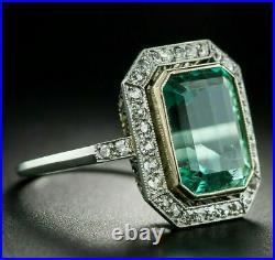 Engagement Vintage Art Deco Grren Sapphire Ring 14K White Gold Over 2 Ct Diamond