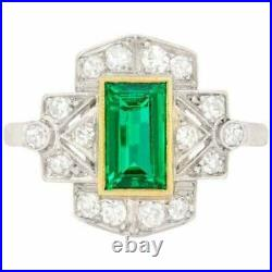Engagement Wedding Ring Vintage Art Deco 2Ct Emerald Diamond 14K White Gold Over