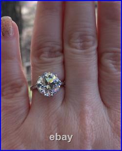 Estate Art Deco 5.03 Ct. Old European Cut Diamond Platinum Engagement Ring