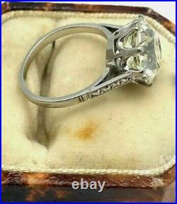 Estate Engagement Vintage Art Deco Ring 3 Ct Round Diamond 14k White Gold FN925