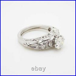 Filigree Vintage Antique Art Deco Wedding Ring 14k White Gold Over 2 Ct Diamond
