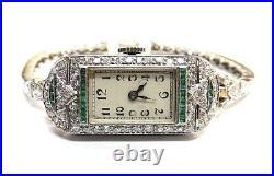 Fine Antique Art Deco Vintage 14k WG Emerald and Diamond Ladies Watch Bracelet