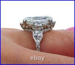 Gia 3.78ct Antique Art Deco Old Marquise Diamond Engagement Wedding Ring Plat