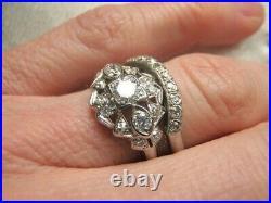 Gorgeous Art Deco Platinum Diamond Engagement Ring Sz 5.75- 6 Antique Vintage