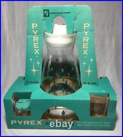 HTF Rare Vintage Pyrex Turquoise Diamonds Juice Quintet Jug & 4 Tumblers NOS