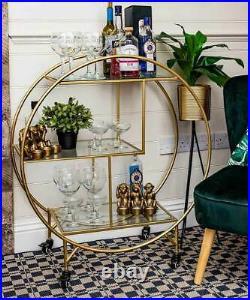 Large Drinks Trolley Home Bar Cart Drink Display Art Deco Metallic Gold