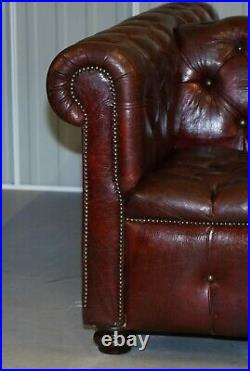 Large Oxblood Vintage Leather Double Sided Chesterfield Tufted Conversation Sofa