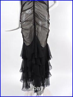 Late 1920s Ruched Sheer Black Silk Chiffon Dress W Ruffles