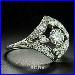 Leaves Navette Shape Vintage Art Deco Ring 14K White Gold Over 2.01 Ct Diamond