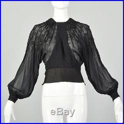 M 1930s Black Top Sheer Long Bishop Sleeve Blouse Floral Applique Shirt 30s VTG