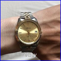 Mens Hermes Quartz Stainless Steel Gold Silver Rolex Jubilee Datejust