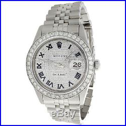Mens Rolex 36mm DateJust Diamond Watch Jubilee Band Roman Numeral Pave Dial 4 CT