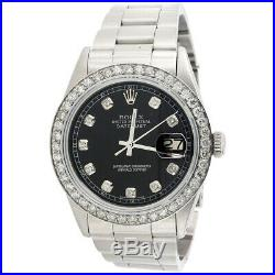 Mens Rolex 36mm DateJust Diamond Watch Oyster Steel Band Custom Black Dial 2 CT