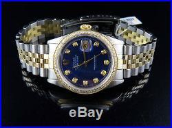 Mens Rolex Datejust 18K 2 Tone Gold 36MM Jubilee Blue Dial Diamond Watch 2 Ct
