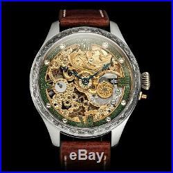 Mens Skeleton Wrist Watch Vintage 1907 Mechanical 15J Restored Swiss Movement