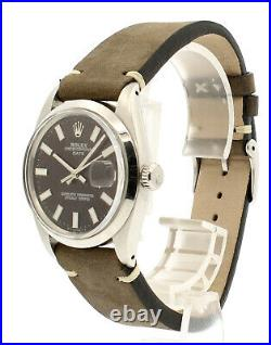Mens Vintage ROLEX Oyster Perpetual Date 34mm BROWN Dial Stainless Steel Watch