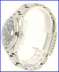 Mens Vintage ROLEX Oyster Perpetual Date 34mm Black Dial Diamond Stainless Watch