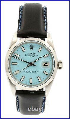 Mens Vintage ROLEX Oyster Perpetual Date 34mm Blue Dial Stainless Steel Watch