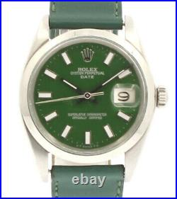 Mens Vintage ROLEX Oyster Perpetual Date 34mm GREEN Dial Stainless Steel Watch