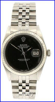 Mens Vintage ROLEX Oyster Perpetual Datejust 36mm BLACK Dial Watch