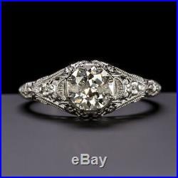 OLD EUROPEAN CUT. 84c DIAMOND ENGAGEMENT RING VINTAGE SOLITAIRE ART DECO NATURAL
