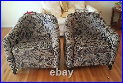 PAIR of SUMPTUOUS VINTAGE ART DECO INSPIRED BLACK LACQUERED CLUB CHAIR