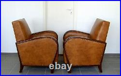 Pair Art Deco Leather Armchairs. Club Cocktail Chairs. Antique Vintage Halabala