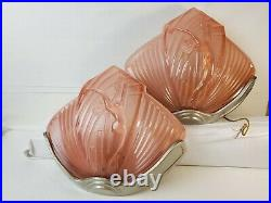 Pair Art Deco Vintage Clam Shell Theater Light Sconce NESDAM Naked Lady Design