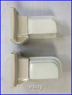Pair Vintage Art Deco Wall Mount Sconce Light Fixture White Porcelain Alabax