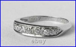 Platinum Vintage Art Deco Old Mine Diamond Wedding Band Ring Dated 1942.28ctw
