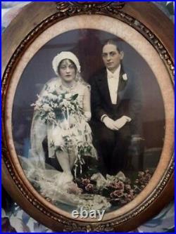Rare 1920s SILK CREPE ART DECO BEADED FLAPPER WEDDING DRESS withJEWELS & HEADPIECE