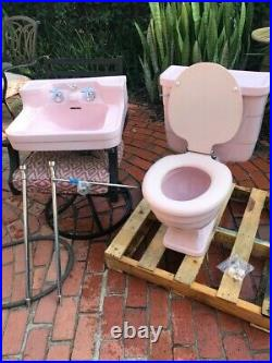 Rare Vintage Crane Matching Compeer Sink and Maurclonia 1 pc Toilet Orchid Pink