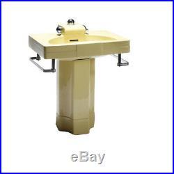Rare Vintage Crane Neuvogue Pedestal Sink designed by Henry Dreyfuss