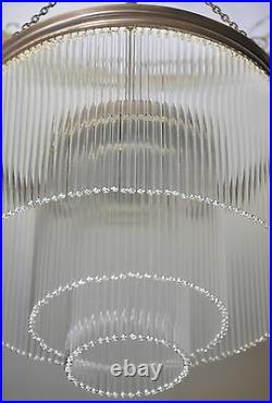 Retro Vintage Leuchte Pendelleuchte Deckenlampe Lüster Glas Artdeco Messing Anti