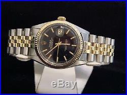 Rolex Datejust Mens 2Tone 14K Gold & Stainless Steel Black Jubilee Bracelet 1601