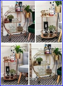Rose Gold Round Drinks Trolley with 2 or 3 Tier 30's Art Deco Vintage Home Ba