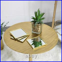 Round Gold Side Table art deco modern vintage storage living room accent