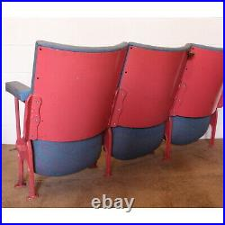 Row of Three Vintage Art Deco C1930s Cinema Theatre Chairs Seats Patterned Wool