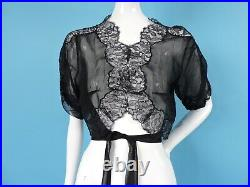 Sexy 1930s Black Silk Chiffon And Lace Jacket For Dress W Long Ties