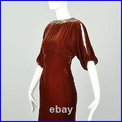 Small 1930s Silk Velvet Dress Tawny Old Hollywood Glamorous Evening Gown VTG 30s
