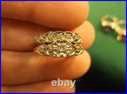 Stunning Older Vtg Antique Art Deco Era 14k White Gold & Diamond Wedding Ring