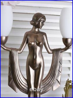 Tischlampe Art Deco Tischleuchte Frauenakt Bauhaus Lampe Vintage Nachttischlampe