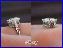 Unique Vintage Art Deco Engagement Wedding Ring 2.25Ct Diamond In 14K White Gold