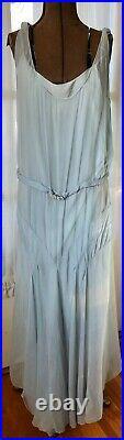 VINTAGE 1930's PALE SKY BLUE SILK CHIFFON CREPE BIAS CUT GOWN DRESS With RHINESTON