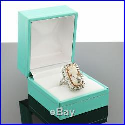 VTG Art Deco 14K White Gold Filigree Ruby Red & Diamond Cameo Flip Ring Sz 6.25